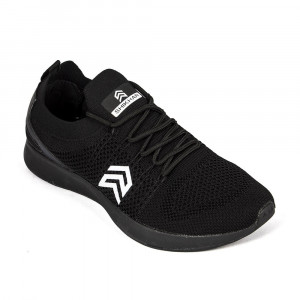 Light Weight Knitted Black Sports Shoe With Show Shoe Lace - (813)