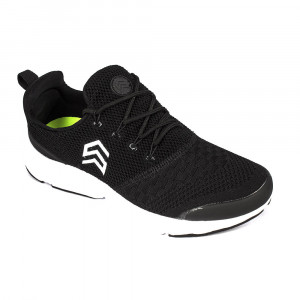 Light Weight Knitted Black Sports Shoe with Show Shoe lace - (6106)