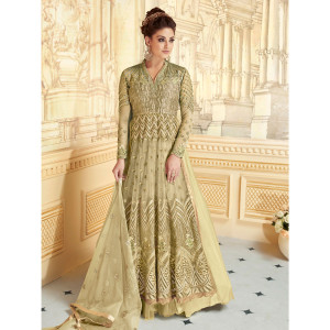 Stylee Lifestyle Designer Floral Jardoshi Work With Multiple Jari & Crystal Green Semi Stitched Salwar Suit for Party and Wedding