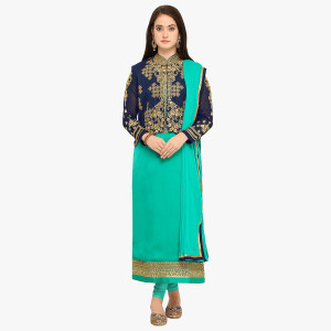 Stylee Lifestyle Turquoise Embellished Traditional Jardoshi Work with Crystal & Cut work Dress with Designer Jacket for Wedding, Festival, Parties
