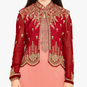 Stylee Lifestyle Red Embellished Traditional Jardoshi Work with Crystal & Cut work Dress with Designer Jacket for Wedding, Festival, Parties
