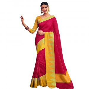 Stylee Lifestyle Red Banarasi Silk Jacquard Saree (1801)