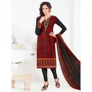Stylee Lifestyle Maroon Crepe Embroidered Dress Material (1797)