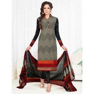 Stylee Lifestyle Black Crepe Embroidered Dress Material (1790)