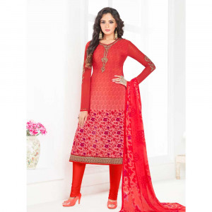 Stylee Lifestyle Pink Crepe Embroidered Dress Material (1793)