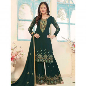 Stylee Lifestyle Green Georgette Embroidered Dress Material (1783)