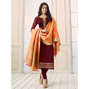 Stylee Lifestyle Maroon Satin Embroidered Dress Material (1759)