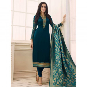 Stylee Lifestyle Navy Blue Satin Embroidered Dress Material (1760)