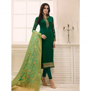 Stylee Lifestyle Green Satin Embroidered Dress Material (1765)