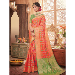 Stylee Lifestyle Orange Patola Silk Jacquard Saree (1733)