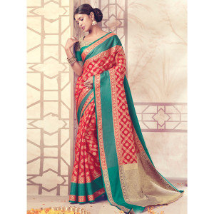 Stylee Lifestyle Red Banarasi Silk Jacquard Saree (1725)