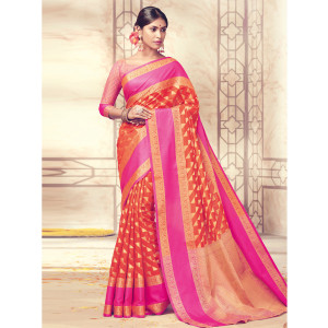 Stylee Lifestyle Orange Banarasi Silk Jacquard Saree (1728)