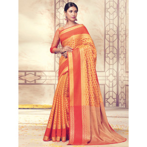 Stylee Lifestyle Orange Banarasi Silk Jacquard Saree (1729)