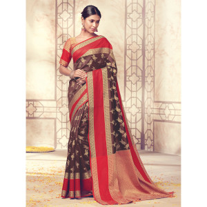 Stylee Lifestyle Brown Banarasi Silk Jacquard Saree (1731)