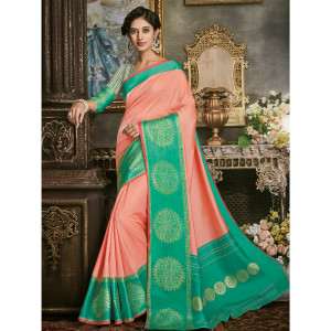 Stylee Lifestyle Peach Art Silk Jacquard Saree (1695)