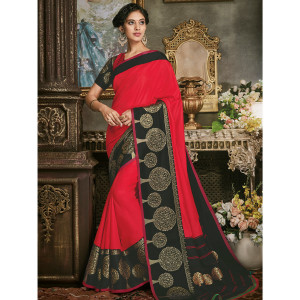 Stylee Lifestyle Red Art Silk Jacquard Saree (1697)