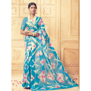 Stylee Lifestyle Blue Kota Silk Printed Saree (1692)