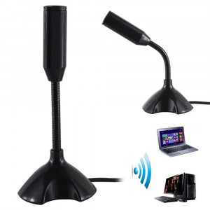 Mini USB Microphone Stand Mic With Holder For PC Laptop- Black