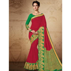 Stylee Lifestyle Red Banarasi Silk Jacquard Saree (1828)