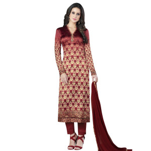 Stylee Lifestyle Maroon Satin Printed Dress Material (1364)