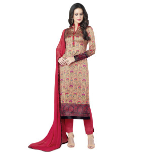 Stylee Lifestyle Beige Satin Printed Dress Material (1367)