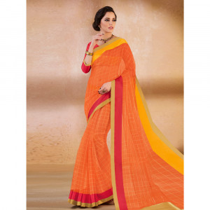 Stylee Lifestyle Orange Organza Woven Saree - 1887