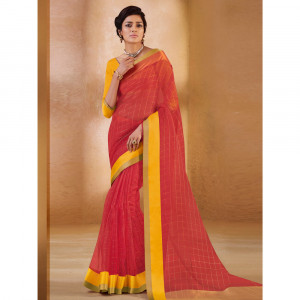 Stylee Lifestyle Red Organza Woven Saree - 1890