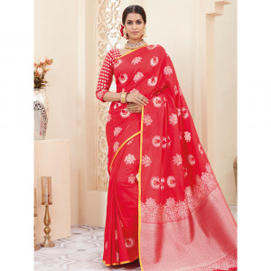 Stylee Lifestyle Red Banarasi Silk Jacquard Saree - 1853