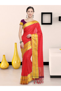 Stylee Lifestyle Red Art Silk Jacquard Saree (1905)