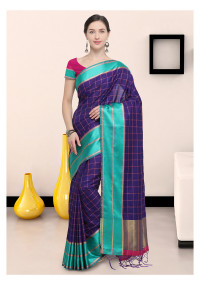 Stylee Lifestyle Purple Art Silk Jacquard Saree   (1907)