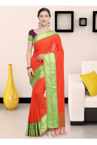 Stylee Lifestyle Orange Art Silk Jacquard Saree   (1908)