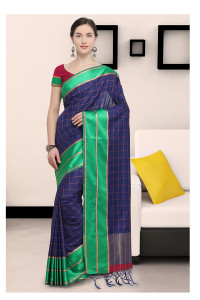 Stylee Lifestyle Blue Art Silk Jacquard Saree   (1909)