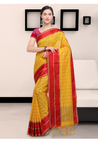 Stylee Lifestyle Yellow Art Silk Jacquard Saree   (1910)