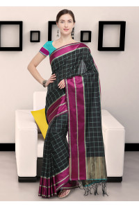 Stylee Lifestyle Black Art Silk Jacquard Saree    (1911)