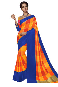 Stylee Lifestyle Orange Banarasi Silk Jacquard Saree  (1919)