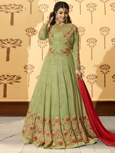 Stylee Lifestyle Green Georgette Embroidered Dress Material -1934