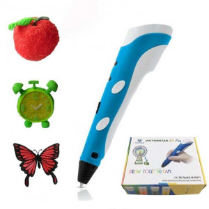 VICTORSTAR 3D Pen Portable RP-100A Blue + White for 3D Drawing Doodling + Power Adapter + ABS Filament / Amazing Gift for Kids
