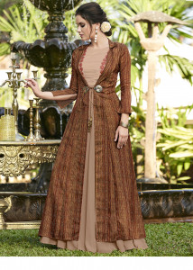 Stylee Lifestyle Beige Digital Print Jacket With Sober Resham Embroidery Gown Style -1959