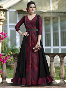 Stylee Lifestyle Maroon Digital Print With Designer Pattern Gown Style -1964