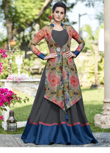 Stylee Lifestyle Grey Multi Colour Print Jacket With Contrast Border Gown Style -1965