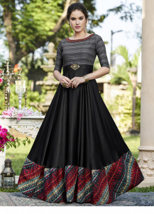 Stylee Lifestyle Black Broach With Multi Color Digital Print Gown Style-1969
