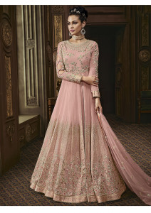 Stylee Lifestyle Pink Rayon Floral Jardoshi Gown -2029
