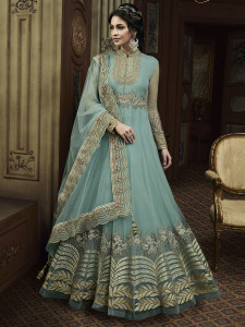 Stylee Lifestyle Turquoise  Rayon Floral Jardoshi Gown -2036