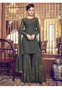 Stylee Lifestyle Grey Georgette Embroidered Dress Material -2068