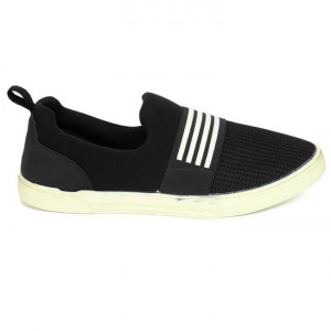 Black/White Mesh Casual Shoes For Men