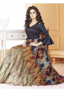 Stylee Lifestyle Blue  Black Printed Gown-1556