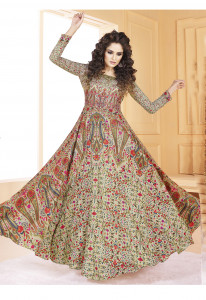 Stylee Lifestyle Beige Color Printed Gown-1558