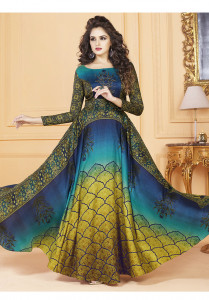Stylee Lifestyle Blue Color Printed Gown-1559