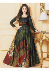 Stylee Lifestyle Green Color Printed Gown-1561