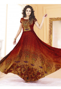 Stylee Lifestyle Maroon Color Printed Gown-1562